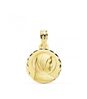 Medalla Niña Primera Comunión Virgen María Francesa Oro 18k 14mm