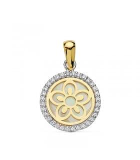 Collar de mujer oro bicolor 18k Colgante Jara flor orla Gargantilla