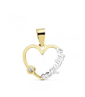 """Colgante Corazón """"te quiero"""" oro bicolor 18 Ktes San Valentín. Regalos pareja, novios"""
