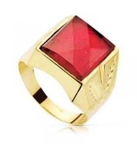 Sello Caballero Oro amarillo 18k Ezra Espinela roja Rubí
