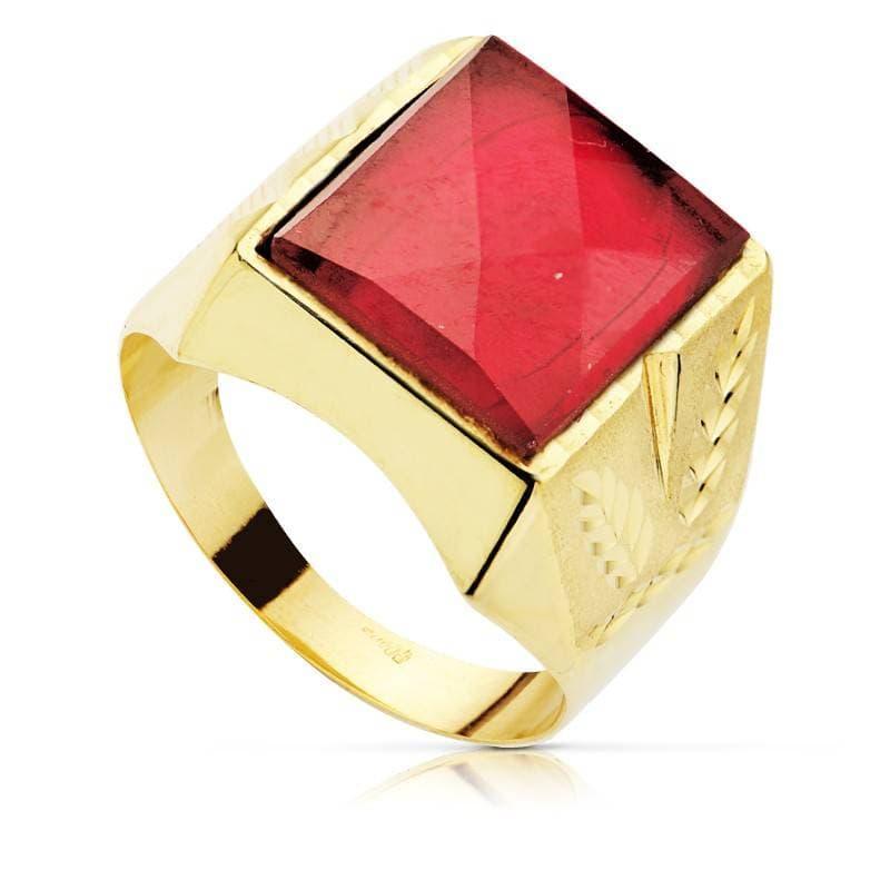 811c9fd3d68d Sello Caballero Oro amarillo 18k Ezra Espinela roja Rubí