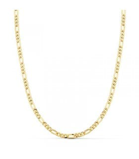 Cadena gruesa hueca eslabones 3.5 mm oro 18 Ktes 60cm cadena hombre unisex