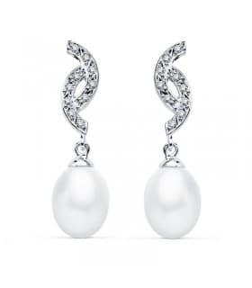Pendientes Madame Charlotte Aglaé Oro Blanco 9K Perla