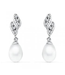 Pendientes de boda Oro Blanco 9 Kilates Perla Cultivada. Joyería invitadas de boda