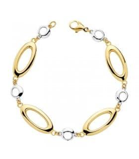 Pulsera de mujer oro bicolor 18k Eslabones & Bubbles - Joyería Online