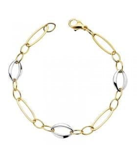 Pulsera de mujer oro bicolor 18k Eslabones geométricos, Joyería Online