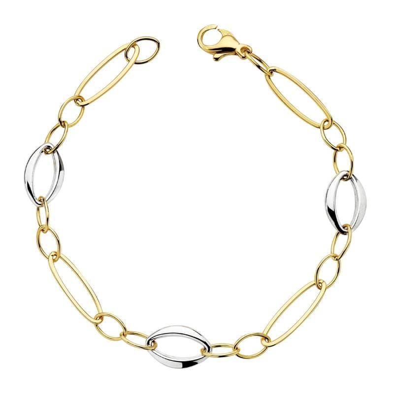 db9be5d188ef Pulsera de mujer oro bicolor 18k Eslabones geométricos