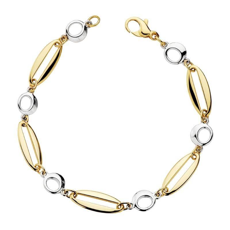 7e4c7e6b9017 Pulsera de mujer oro bicolor 18 kilates Eslabones burbujas - Joyería Online