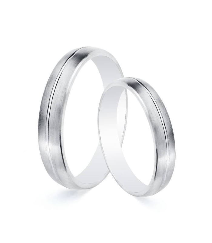 Alianzas de boda Salzano 4mm Oro blanco 9 Kilates Mate. Grabado incluido.