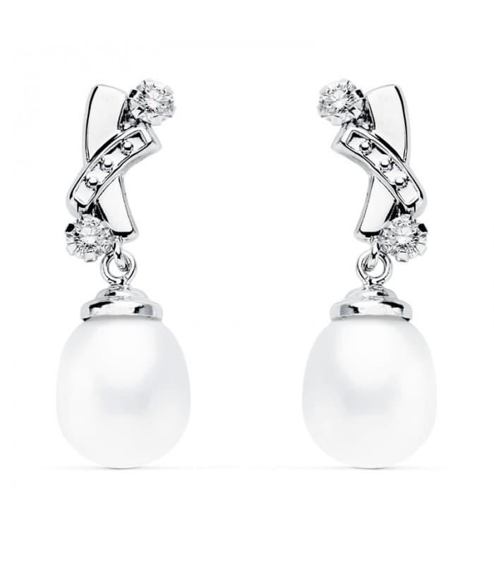 Pendientes de novia Dame Bärbel Oro Blanco 18K Perla cultivada