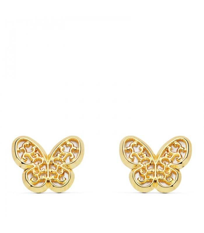 Pendientes mujer mariposa victorianos Oro 18k nácar