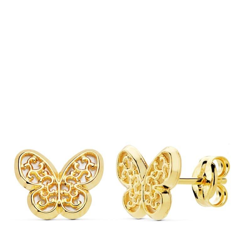 d90b21d57883 Pendientes mujer mariposa victorianos Oro 18k nácar · Pendientes niña  juvenil adolescente chica corazón floral minimal Oro 18 kilates casual  presión