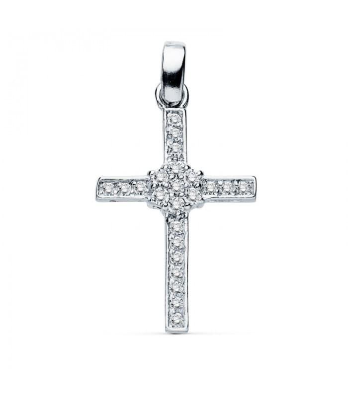 Colgante de mujer oro blanco 18 kilates Cruz Gemas II - Icon charms