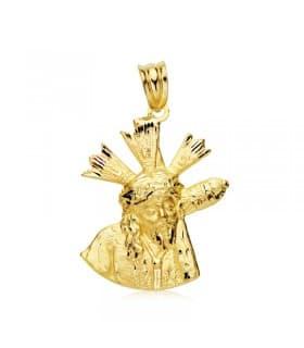 Medalla religiosa mediana Cristo del Gran Poder Silueta Oro 18K 24mm