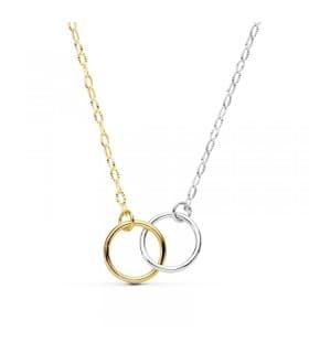 Gargantilla Slim aro círculo de mujer colgante collar alianzas en oro bicolor 18 kilates