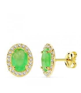 Pendientes oro amarillo Alessia piedra verde 18 K