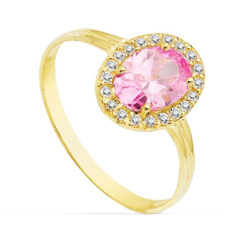 406a90395e48 Sortija oro amarillo Alessia piedra rosa francia 18 Kilates. Invitada de  boda