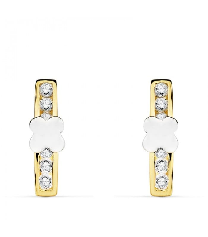 Pendientes oro bicolor 18 Kilates Conjunto Aria Primera Comunión