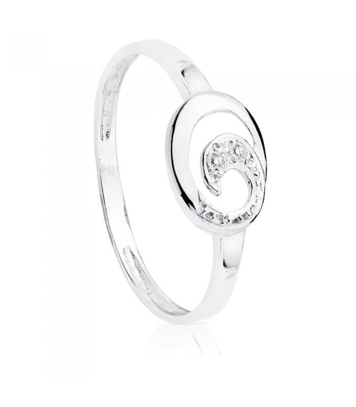 Sortija Ola de Mar con Diamantes 0.016 Qtes. Anillo Oro blanco 18 Kilates