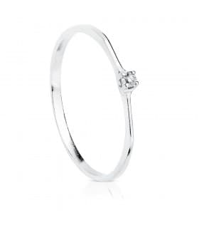 Solitario Diamantes 0.030 Qtes. Oro blanco 18K