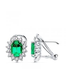 Pendientes Oro Blanco 18 Ktes Esmeralda y Diamantes