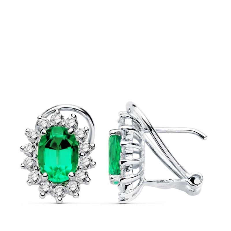 84c4804c0352 Pendientes Oro Blanco 18 Ktes Esmeralda y Diamantes