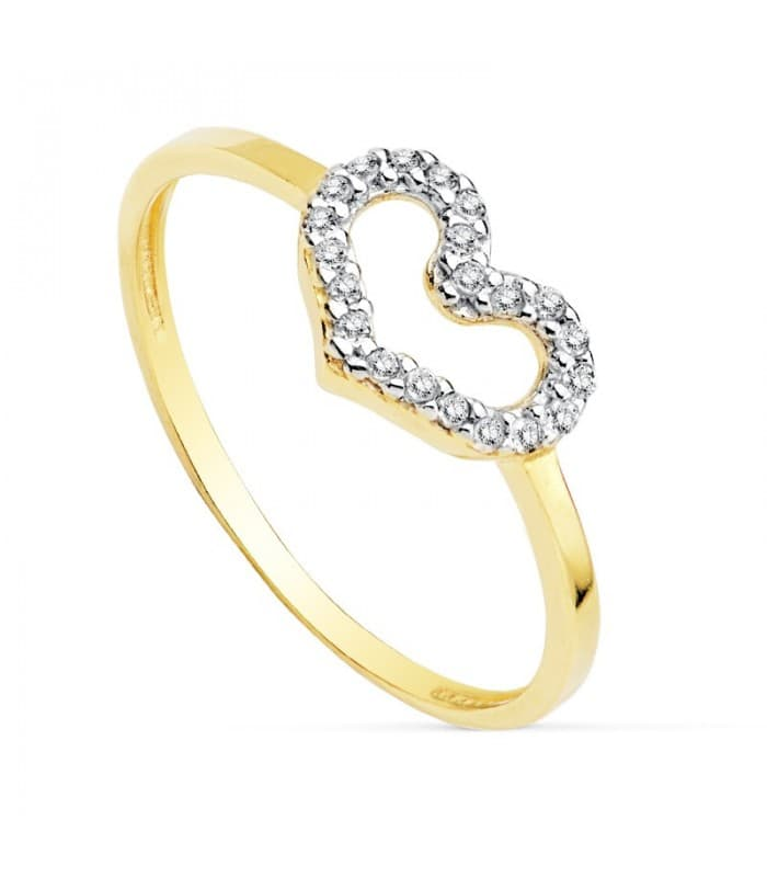 Anillo de Mujer Oro bicolor 18K Demi Corazón San Valentín