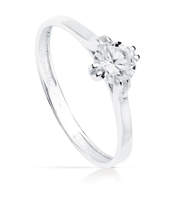 Solitario clásico de Mujer Oro blanco Riga 18K anillo de compromiso