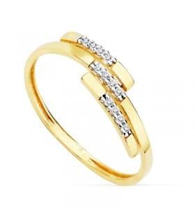 Sortija de Mujer Oro bicolor 18K Ogaki anillo bandas señora