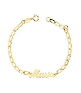 Pulsera bebé Oro amarillo 18K Nombre letras joya pulsera personalizada