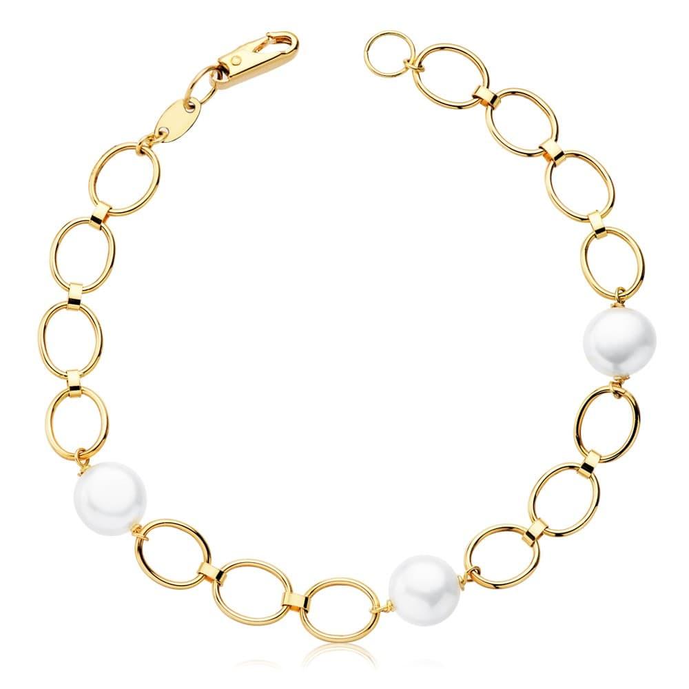 af5b60b99140 Pulsera de Niña 1ª Comunión con perlas en Oro 18 kts 18 cm