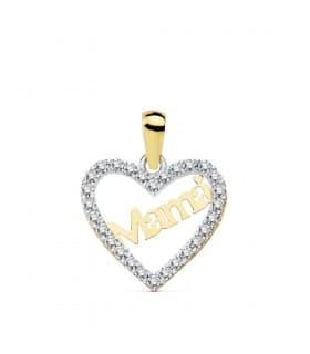 Colgante Charm Love Mum Oro Bicolor 18K Circonitas Collar corazón mamá