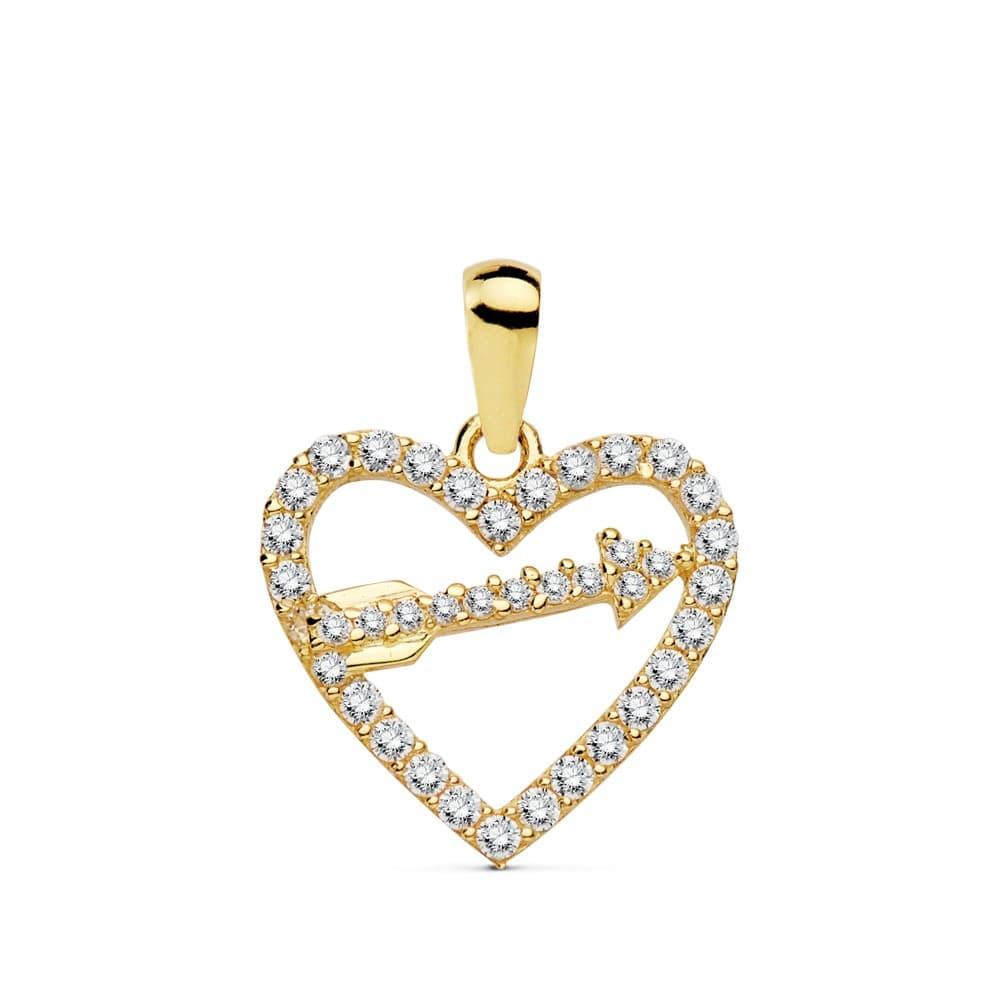 ef711761065d Colgante Love Arrow Oro Amarillo 18K Circonitas Collar Corazón Flecha