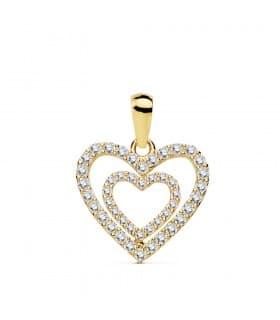 Colgante Love Heart Oro Amarillo 18K Circonitas Collar romántico amor