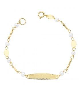 cc87c17c60f4 Esclava de niña Primera Comunión Oro 18k 15 cm Pulsera con Perlas