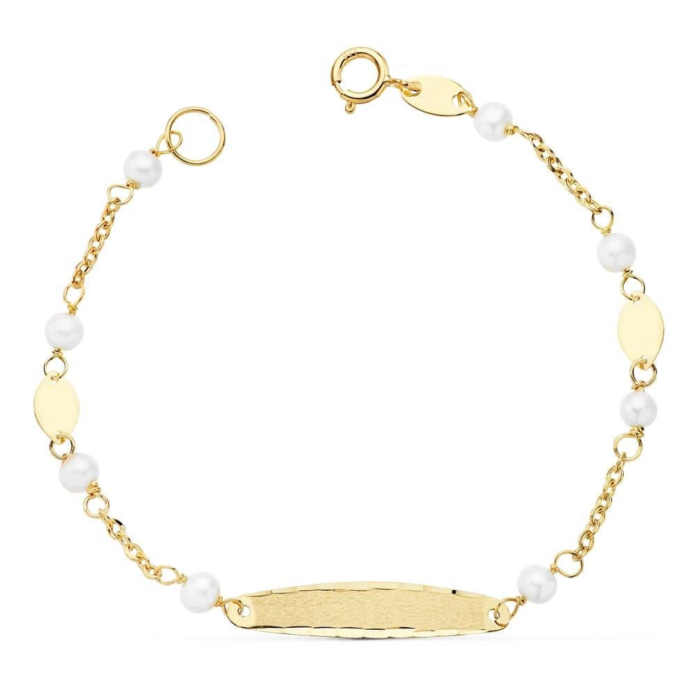 665180e9854b Esclava de niña Primera Comunión Oro 18k 15 cm Pulsera con Perlas
