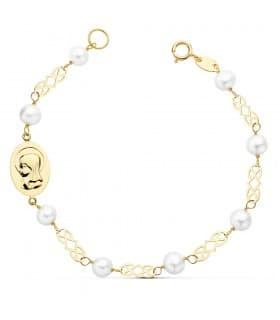 Pulsera de Comunión de Oro 18 kilates 16 cm con Perlas y Medalla Virgen Niña personalizada