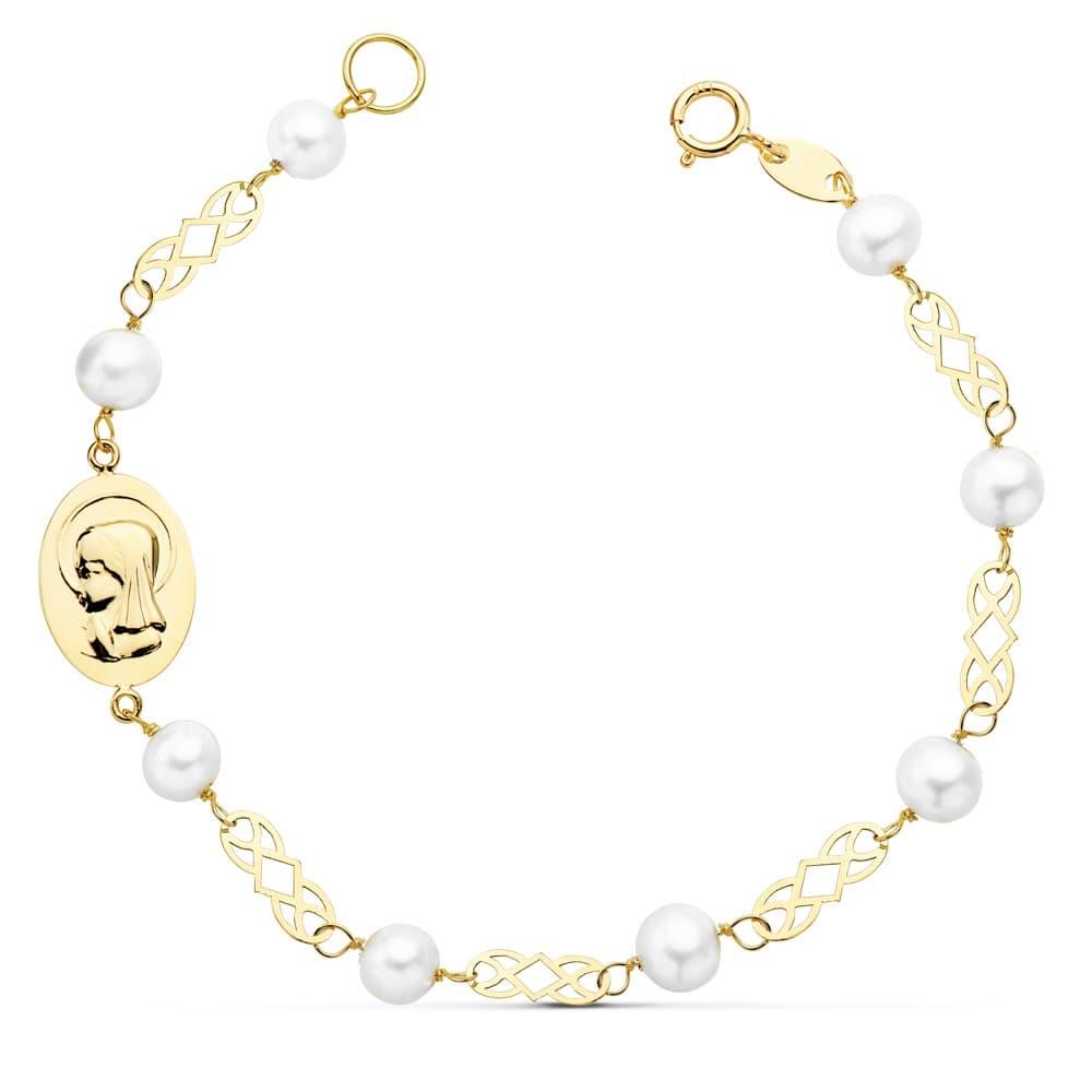 fd0767e6c40b Pulsera de Comunión de Oro 18 kilates 16 cm con Perlas y Medalla Virgen  Niña personalizada ...