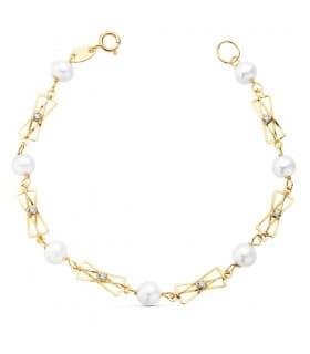 Pulsera de niña Primera Comunión de Oro 18 kilates 16 cm Perlas