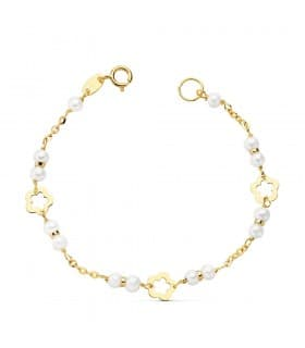 Pulsera Bebé o niña Oro 18k 14 cm Perlas y Flores
