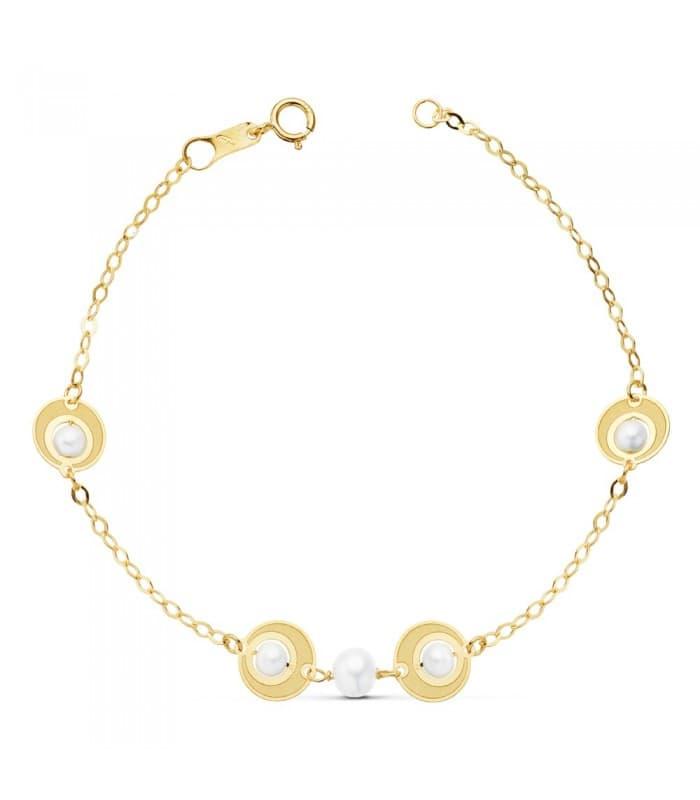 Pulsera de niña Primera Comunión de Oro 18 kilates 16 cm Motivos y Perlas