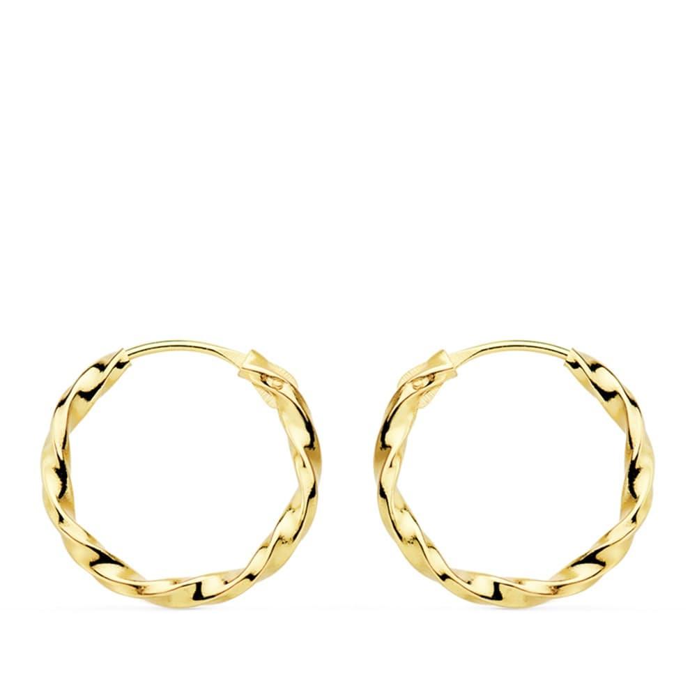 fa4196dcee94 Pendientes aros gallonados retorcidos oro amarillo 18 kilates 14 mm