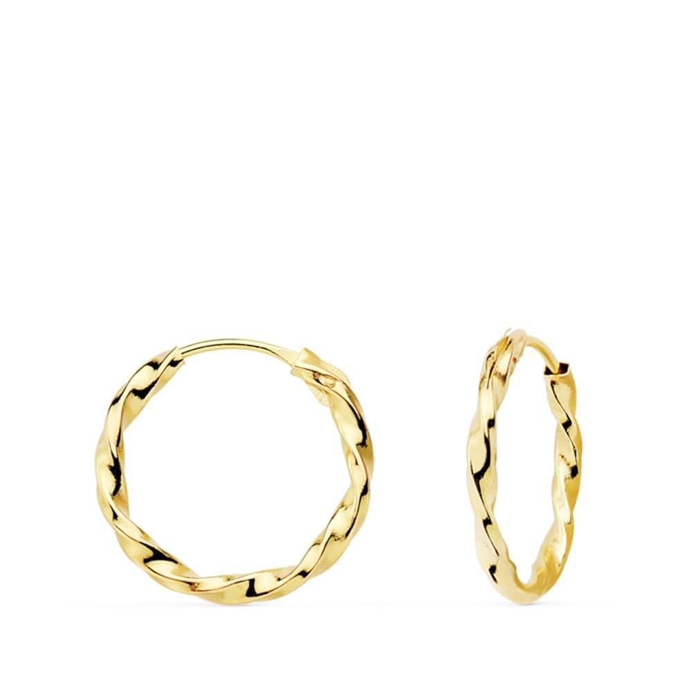 aa3836f9dfbd ... Pendientes de mujer o niña aros retorcidos twisted oro amarillo 18 ktes  hoops