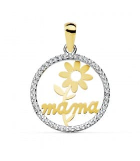 Colgante Charm amuleto Mamá Madre Oro Bicolor 18 Kilates Circonitas y Margarita 16mm