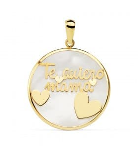 Colgante Medallón mensaje Te Quiero Mamá Oro Amarillo 18K Nácar y Corazones 20mm