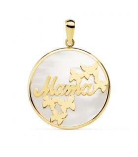 Colgante Medallón Te Quiero Mamá Oro Amarillo 18K Nácar y Mariposas 20mm Charm madre