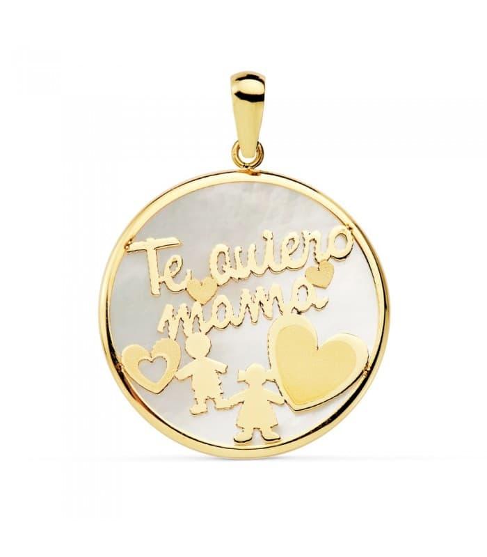 Colgante Medallón Te Quiero Mamá Oro Amarillo 18K Nácar y Silueta Niño Niña 20mm