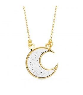 Gargantilla Mujer collar luna moon oro 18 kilates cadena forzada