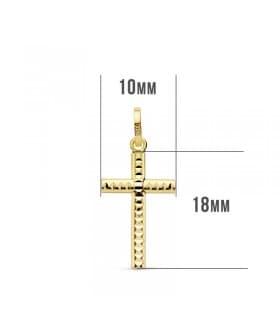 Cruz tallada de oro amarillo 18 mm