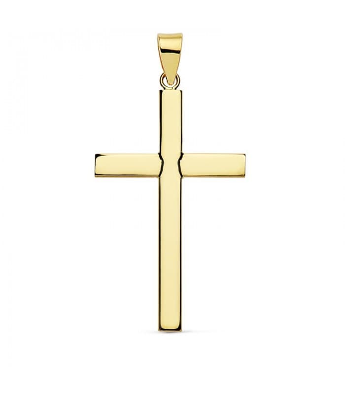 Cruz Lisa de Oro Amarillo 18 K 32 mm